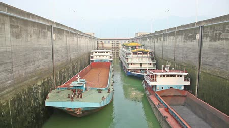 yangtze : Timelapse video of ships rising in the ship lock in Three Gorges Dam