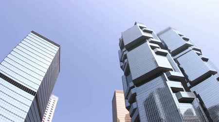 glass building : Panning shot of skyscrapers Stock Footage