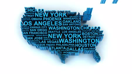 north america : 3d animation of US map formed by names of major cities, looped with matte