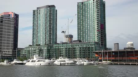 docklands : Waterfront apartment buildings and yacht harbour in Melbourne