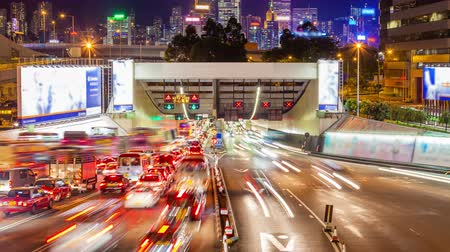 night : 4k timelapse video of cross harbour tunnel traffic in Hong Kong at night