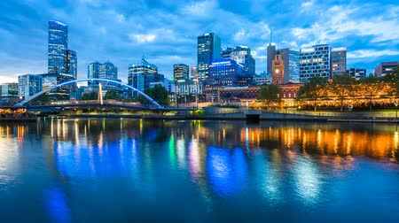 4k timelapse video of Melbourne from sunset to night Wideo