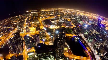 4k timelapse video of Melbourne city at night, fisheye view, zooming in