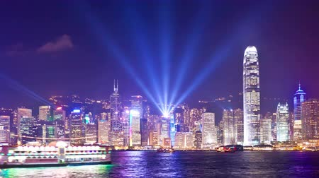 4k timelapse video of Symphony of Light in Hong Kong, zooming in