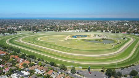 horse racing : Aerial video of Caulfield Racecourse in Melbourne, Australia Stock Footage
