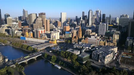 drone : Melbourne, Australia - March 1, 2017:  aerial video of Melbourne CBD