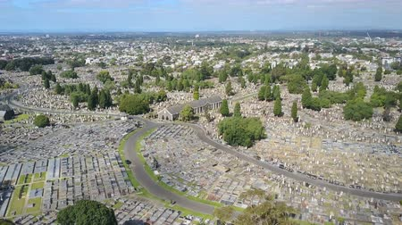 temető : 4k aerial video of a huge cemetery