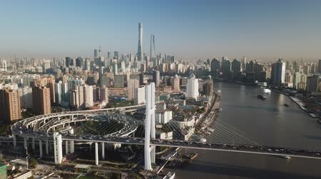 nanpu : Aerial video of Shanghai in the morning