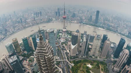 gyöngyszem : 4k timelapse video of Shanghai in daytime, fisheye view