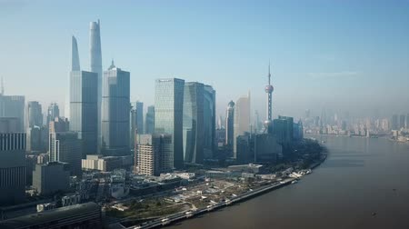 gyöngyszem : Shanghai, China - Nov 2, 2017: 4k aerial video of Shanghai in the morning