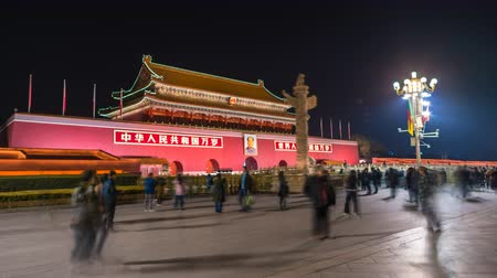 peking : Beijing, China - Mar 23, 2018: 4k hyperlapse video of Tiananmen in Beijing at night, also called the Gate of Heavenly Peace