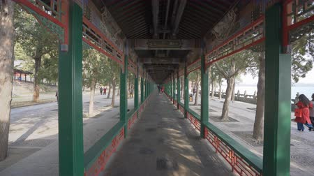 peking : Beijing, China - Mar 19, 2018: 4k dolly shot of the Long Corridor at Summer Palace in Beijing