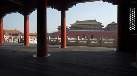 imparatorluk : Beijing, China - Mar 16, 2018: 4k moving shot of Forbidden City in Beijing