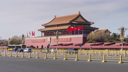 peking : Beijing, China - Mar 15, 2018: 4k timelapse video of Tiananmen in Beijing, also called the Gate of Heavenly Peace