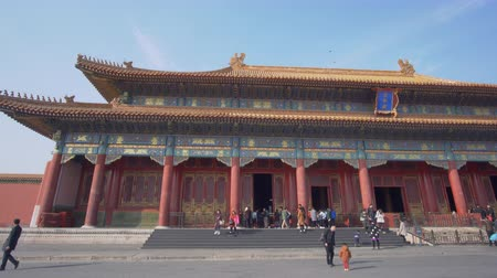 imperial : Beijing, China - Mar 16, 2018: 4k panning shot of Forbidden City in Beijing