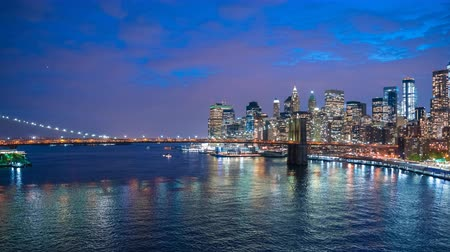 Video 4K hyperlapse dell'orizzonte di Manhattan e del ponte di Brooklyn