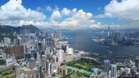 4k aerial video of Victoria Harbour in Hong Kong