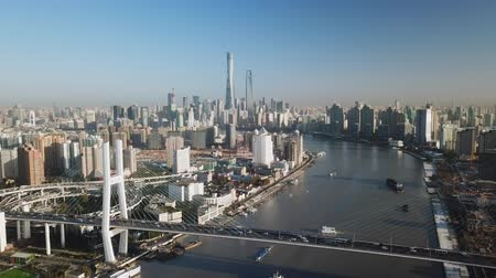 Aerial video of Shanghai in the morning