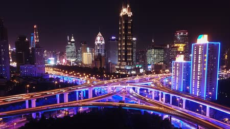 Aerial hyperlapse video of highway traffic at night in Shanghai