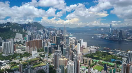 4k aerial hyperlapse video of Victoria Harbour in Hong Kong Wideo