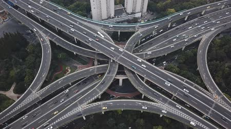 Aerial video of highway traffic in Shanghai