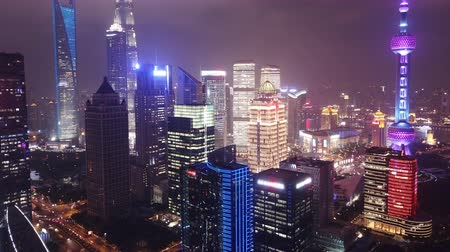 4k aerial hyperlapse video of Shanghai at night