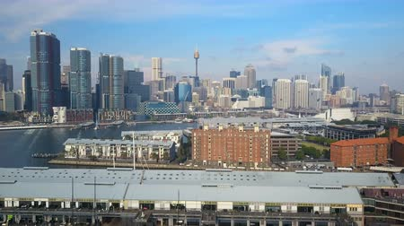 4k aerial video of Darling Harbour in Sydney