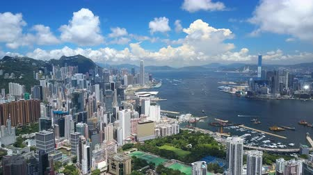 bestemming : 4k luchtfoto video van Victoria Harbour in Hong Kong
