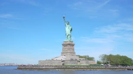 Moving shot of Statue of Liberty in New York