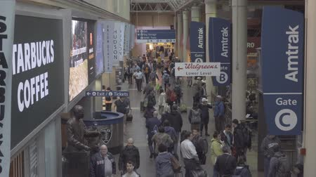 concourse : Washington DC, USA - May 18, 2018: Commuters at railway station in Washington DC Stock Footage