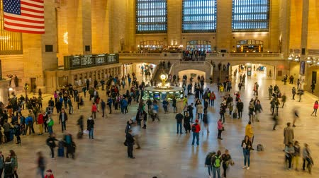 concourse : New York, USA - May 10, 2018: 4k timelapse video of commuters at Grand Central Station in New York Stock Footage