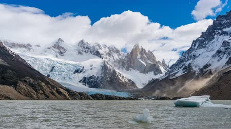 4k timelapse video of Cerro Torre mountain, glacier and iceberg at Los Glaciares National Park in Argentina Wideo