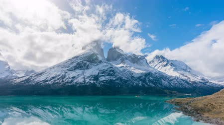 glacier national park : 4k timelapse video of the Cuernos del Paine mountains in Torres del Paine National Park in Chile Stock Footage
