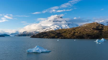 4k timelapse video of iceberg in Grey Lake at Torres del Paine National Park in Chile