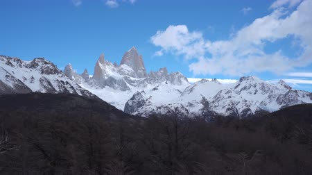 4k dolly shot of Monte Fitz Roy at Los Glaciares National Park in Argentina Wideo