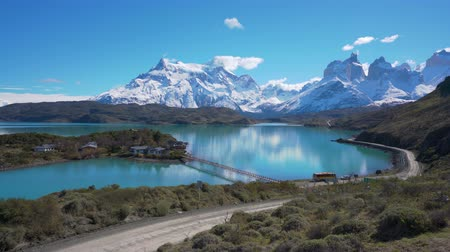 4k dolly shot of mountains and lake in Torres del Paine National Park in Chile