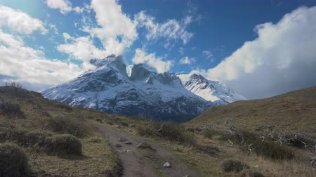 4k video of walking along a hiking trail in Torres del Paine National Park in Chile