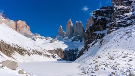 4k timelapse video of the granite towers at Mirador Las Torres in Torres del Paine national park of Chile Wideo
