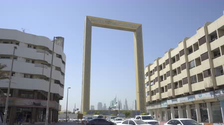 Dubai, UAE - Oct 13, 2018: 4k moving shot of The Dubai Frame in Dubai, UAE