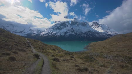 Патагония : 4k dolly shot of hiking trail in Torres del Paine National Park in Chile