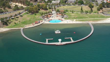 enclosure : 4k aerial orbit shot of a swimming enclosure at Geelong, Australia