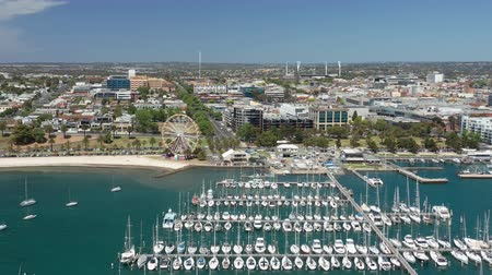 Video aereo 4k del centro di Geelong in Victoria, Australia