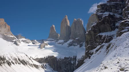 glacier national park : Granite towers at Mirador Las Torres in Torres del Paine national park of Chile