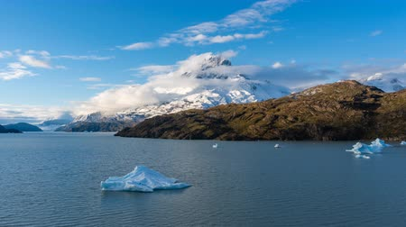 iceberg : 4k timelapse video of iceberg in Grey Lake at Torres del Paine National Park in Chile
