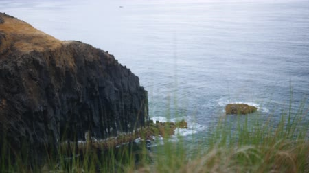 view of the black rocks and fjords against the ocean, Azores, Portugal Dostupné videozáznamy