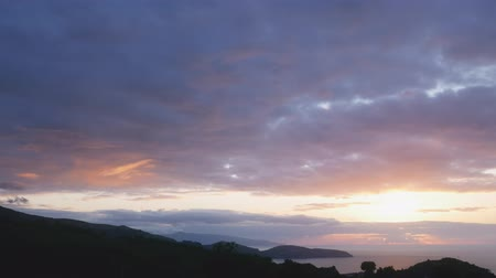 sunset on a wild island with scenic fields, Azores, Portugal Wideo
