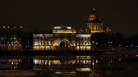 catedral : St. Petersburg, The Admiralty building and Isaac Cathedral at night   Stock Footage