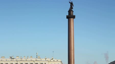 alexander column : St. Petersburg, The Alexander column at Palace Square in winter   Stock Footage
