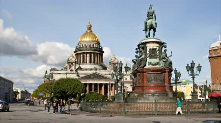 isaac cathedral : St. Petersburg, St. Isaacs Cathedral and Emperor Nikolai I monument   Stock Footage