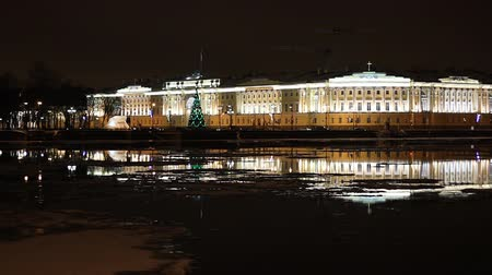 senate and the synod : St. Petersburg, The Building of Senate and Synod at night
